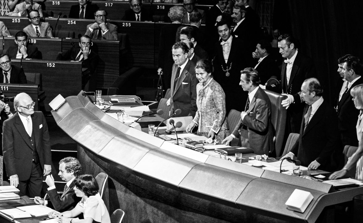 Simone Veil, first woman president of the European Parliament, chairing the first sitting of the European Parliament elected by direct universal suffrage in Strasbourg.