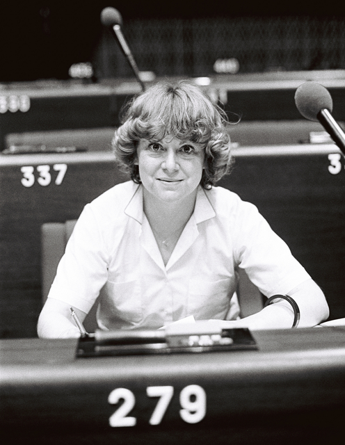 The MEP Anne-Marie LIZIN during a session in Strasbourg in June 1981.
