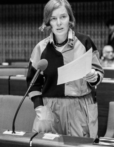 The MEP Johanna MAIJ-WEGGEN during a session in the hemicycle of Strasbourg in October 1983