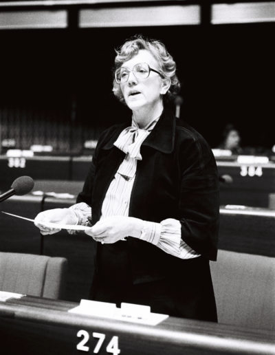 The MEP Annie KROUWEL-VLAM during a session in Strasbourg on February 1980.