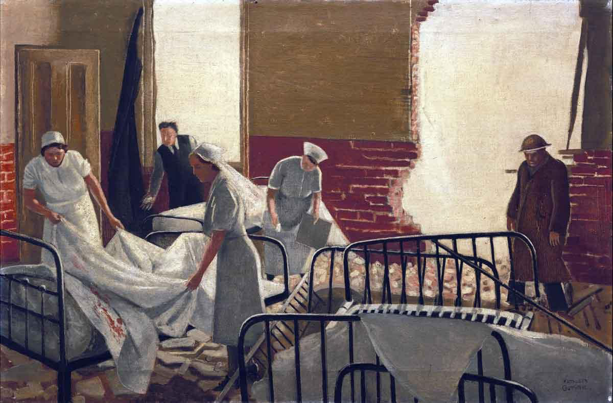 A Bombed Hospital Ward, Kathleen Guthrie, 1940. Two nurses strip a bed with blood-stained sheets in a ward with a large hole blown through the wall. An ARP warden stands near the hole surveying the rubble-strewn floor and the pile of mangled bedsteads on the right. In the background a third nurse and a doctor look down towards something obscured on the floor.
