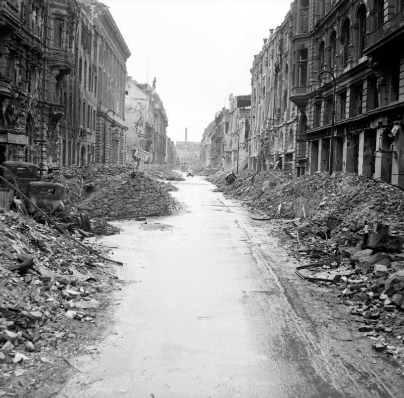 A devastated street in the city centre just off the Unter den Linden after the Battle of Berlin